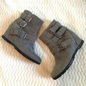 Unisa Women's Faux Suede Grey Booties, Size 8M